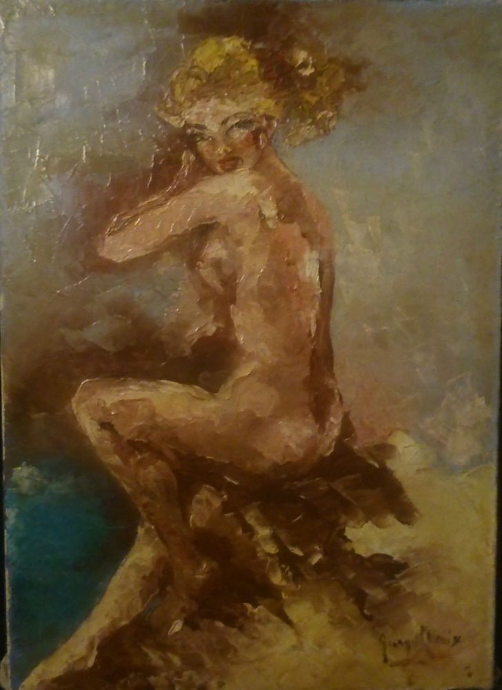 Pin Up Femme Sexy Nue vers 1950 ANCIEN huile sur Toile a identifier 46X33 cms