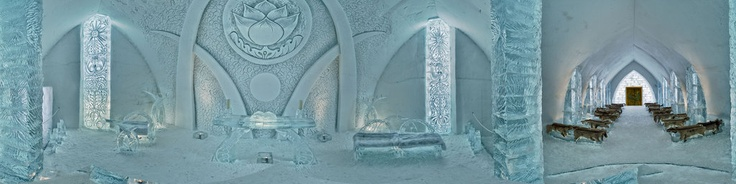 The Chapel of the Ice Hotel in Quebec City. A very original place for a wedding. It's apart from the noisy bars. Benches are made out of ice but they are covered by deer skins.