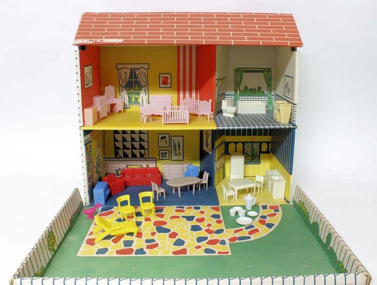 1968 Rare Marx Foldaway Blondie And Dagwood Dollhouse With Furniture