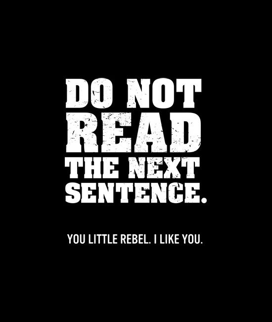 """Do Not Read The Next Sentence. You Little Rebel. I Like You."" Awesome shirts with sayings and quotes."