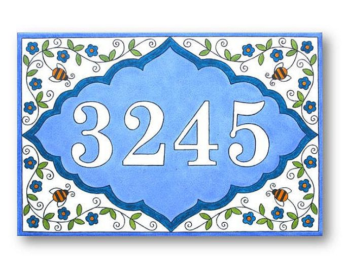 Bees and Flowers Custom Address Plaque, House Numbers Plaque, Custom Address Sign