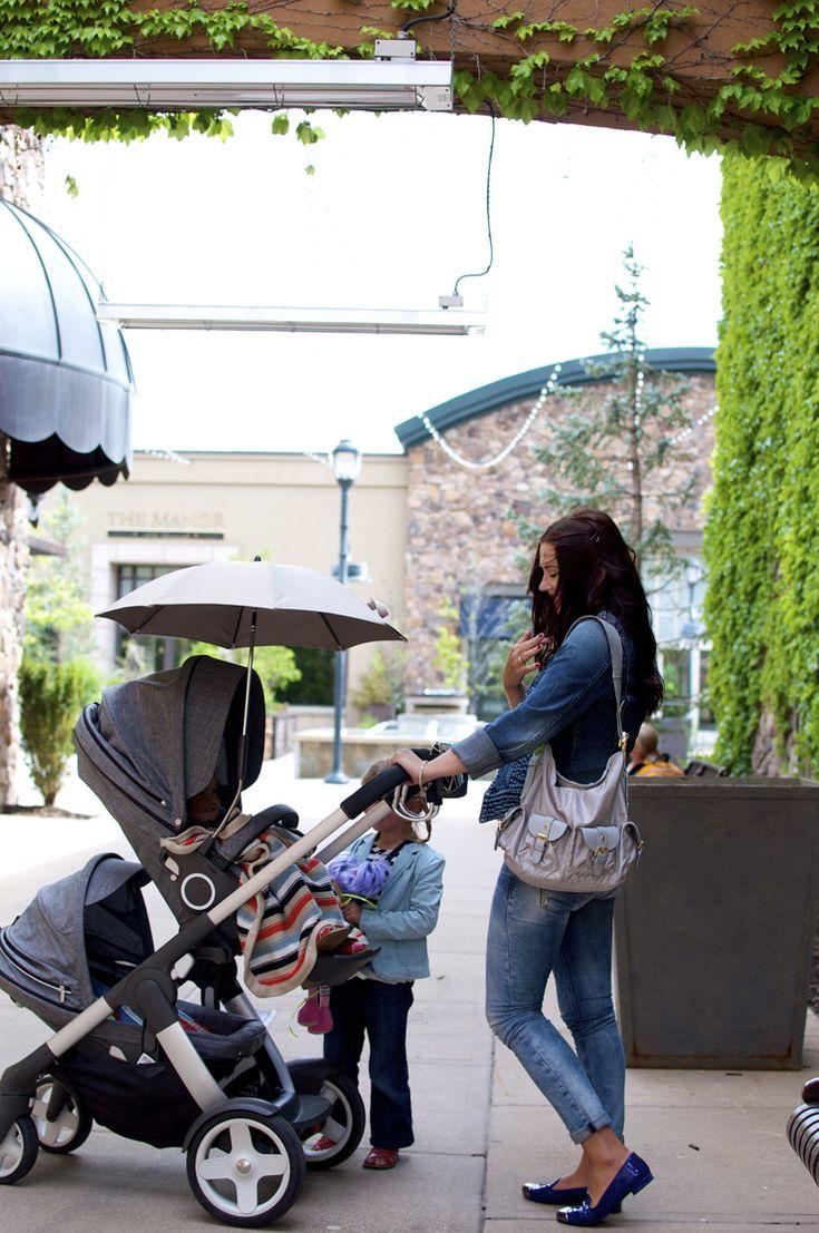 Stokke Crusi stroller with sibling seat solution, parasol & stroller blanket