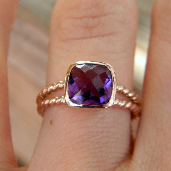 Rapunzel Ring In 14k Rose Gold and Grape Amethyst - would love this in sterling | OneGarnetGirl