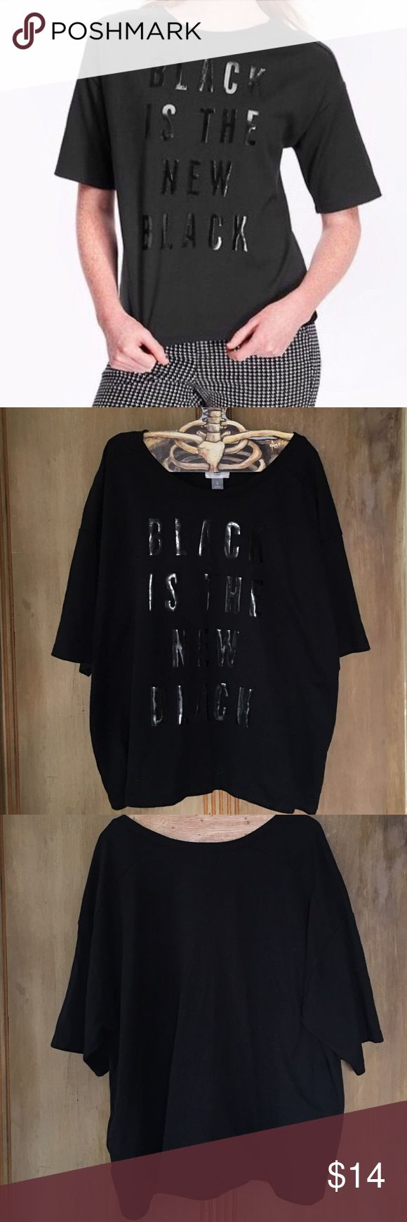 Old Navy Black Is The New Black Top Heavy cotton top from old navy. Kind of feels like a really light sweatshirt. A bit oversized. Gently used. Old Navy Tops