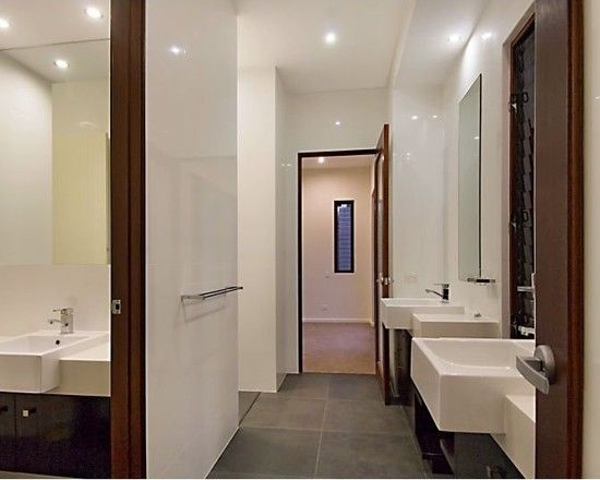 Charming Resort Design with Contemporary Look: Striking Modern Bathroom Interior Wood Door Pavilion House
