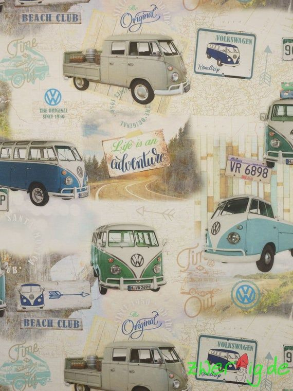 Fixed Cotton Fabric Vw Bus Bulli T1 Volkswagen License Pressure Pocket Fabric Curtain Fabric In 2020 Volkswagen Vw Bus Vw Van