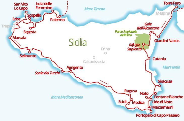 3520 km - Tour della Sicilia, dalla cima dell'Etna alle spiagge di San Vito lo Capo, attraverso le città barocche, i siti archeologici e le località enogastronomiche.