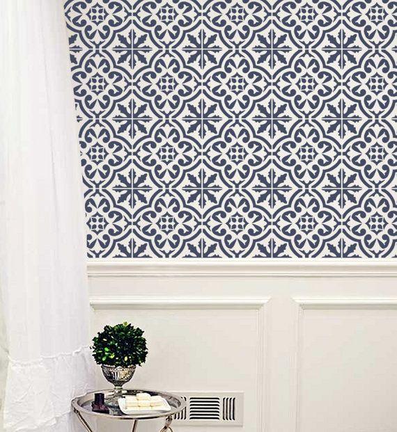 Moroccan Wall STENCIL   Tile Pattern no. 3  REUSABLE Easy