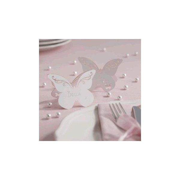 Bellissimi segnaposto realizzati in carta di qualità con la forma di una bellissima  farfalla con eleganti intarsi nelle ali.    Ogni confezione contiene 10 carte luogo farfalla misura 9,4 x 6,9 centimetri