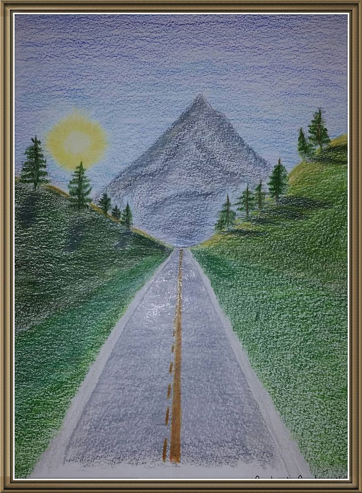 Following the road to the mountain - pencil crayon