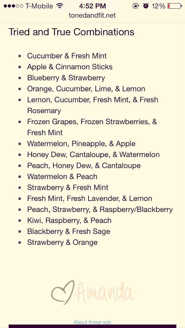 Will do these on infused water which I love! I already done some of the combinations.