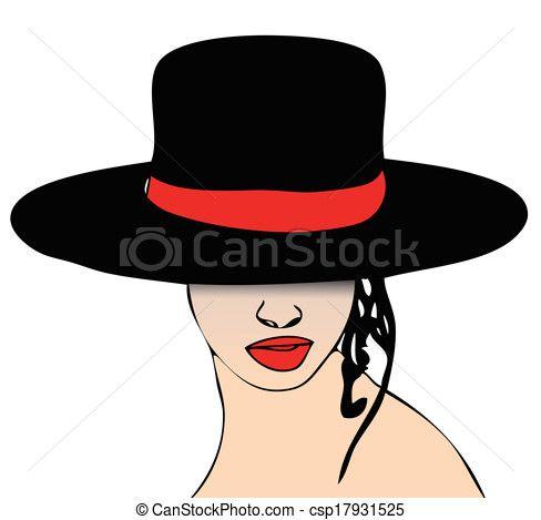 Vector - mujer, sombrero - stock de ilustracion, ilustracion libre de, stock de iconos de clip art, logo, arte lineal, retrato de EPS, Retratos, gráficos, dibujos gráficos, dibujos, imágenes vectoriales, trabajo artístico, Arte Vectorial en EPS