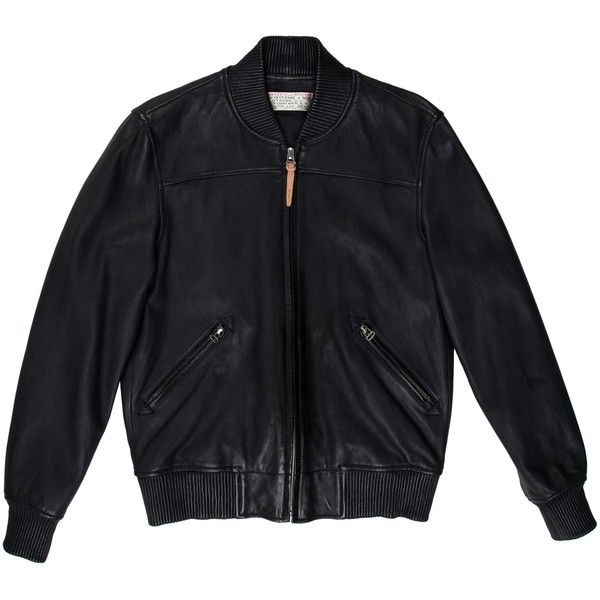 Pre-owned Shipley & Halmos Leather Bomber Jacket ($245) ❤ liked on Polyvore featuring men's fashion, men's clothing, men's outerwear, men's jackets, black, mens zipper jacket, mens zip jacket, mens leather bomber jacket, mens leather jackets and mens leather flight jacket