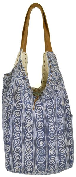 This soft and slouchy tote bag with small spiral design is made from batik hemp and dyed in indigo. Laos   || ClothRoads