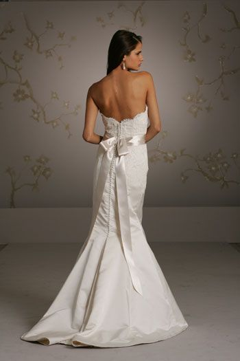 Charming Mermaid Sweetheart Lace Brush Train Satin Wedding Dresses - Lace wedding