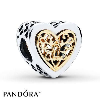 PANDORA Charm Locked Hearts Sterling Silver/14K Gold