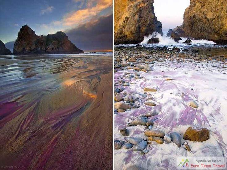 Plaja Pfeiffer cu nisipul mov din California Nisipul de culoare mov de pe această plaja se formează atunci când depozitele de granit si mangan se erodeaza in mare.
