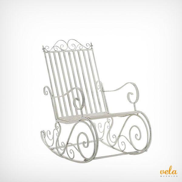 Mecedora de hierro color blanco. Romántica y decorativa. Echa un vistazo de cerca ahora!