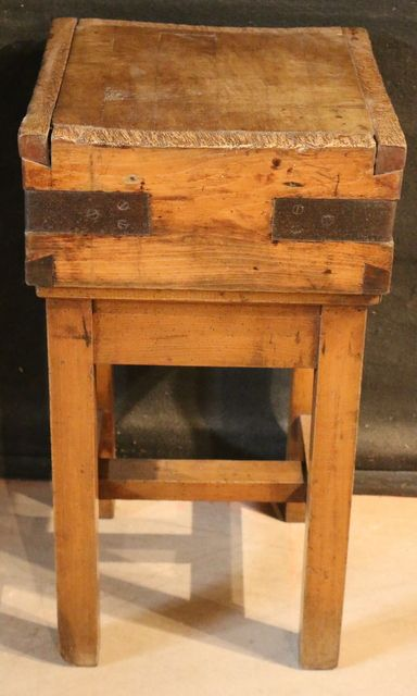Fruitwood Butchers block-Small 19thC French fruitwood butchers block .