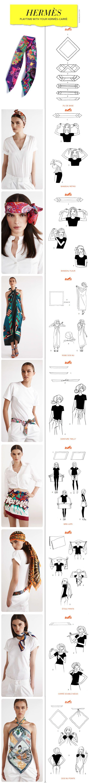 Tuch-Knote-Ideen von Hermés, die mit allen Tüchern funktionieren