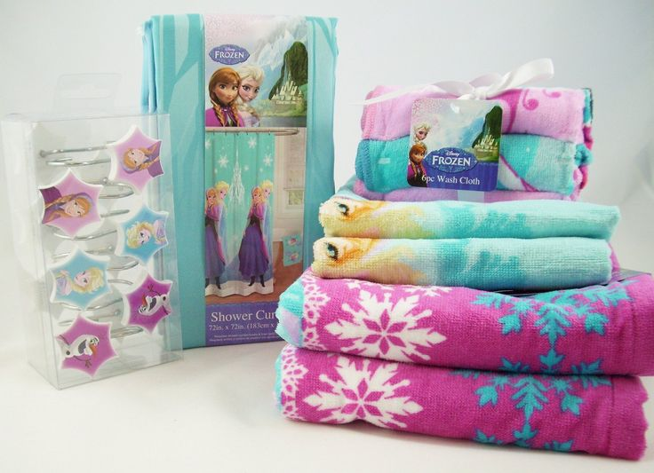 Disney Frozen 23 Piece Bath Set Disney Frozen 23 Piece Bath Set Features Anna, Elsa, Olaf  2 Bath Towels, 2 Hand Towels, 6 Washcloths Fabric Shower Curtain & 12 Pack Shower Curtain Hooks http://livinggood-entrepeneural.blogspot.com/2014/11/towels-as-gifts.html