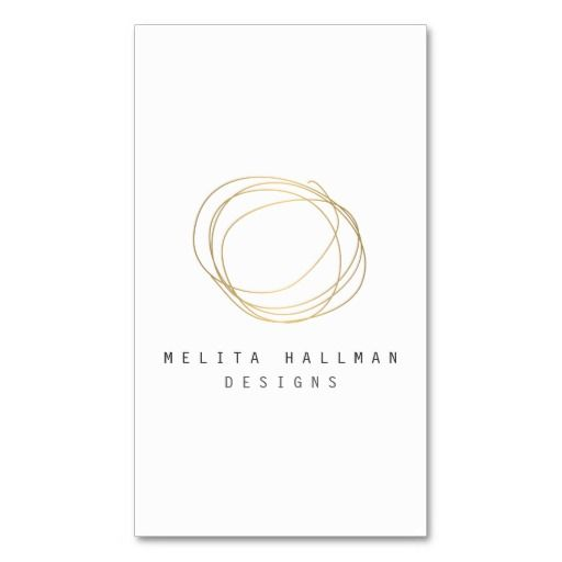 Minimal And Modern Designer Scribble Logo In Gold   Customizable Business  Card Template For Interior Designers