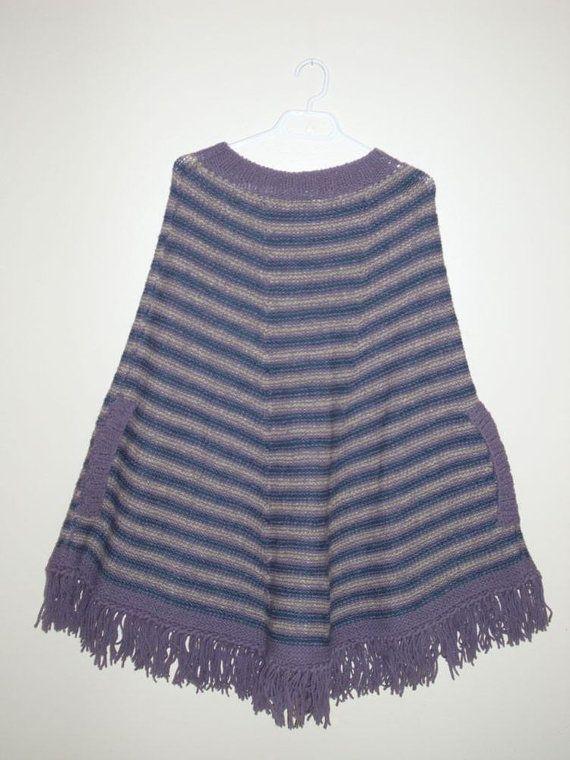 Women  poncho.   Wool  striped  fringed slit by MarikaHandKnits, $160.00