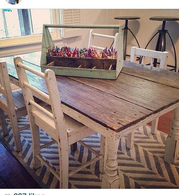 Children's Farmhouse Table  Rustic Reclaimed by FamilyWoodCraft