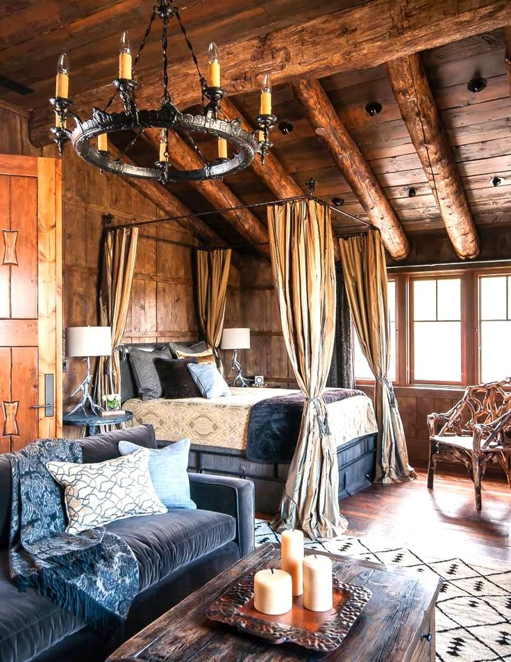 Canopied Bed Makes For Extra Coziness Log Cabin