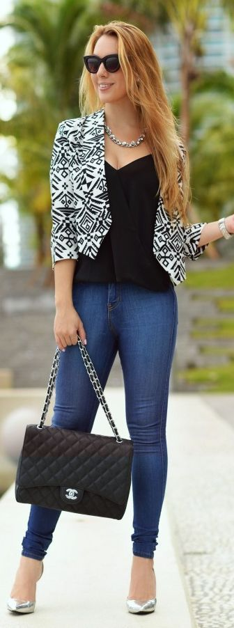 Black And White Aztec Print Crop Blazer by Chic Fashion World