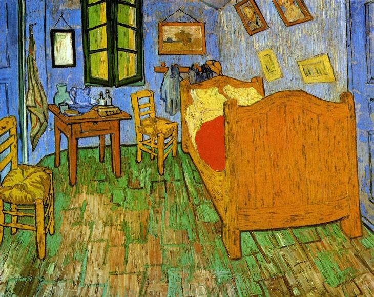 Vincent van Gogh    Arles'teki Yatak Odası / Vincent's Bedroom in Arles    1889. Tuval üzerine yağlıboya. 73.6 x 92.3 cm. The Art Institude of Chicago, Chicago.