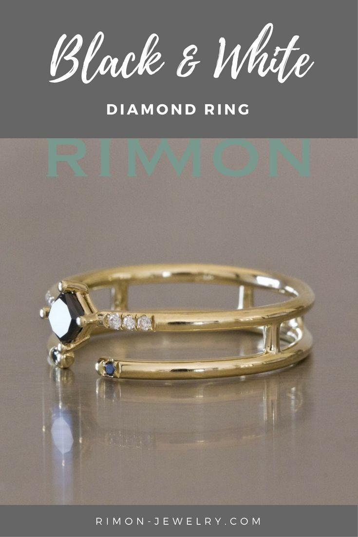 Black & White Diamond Ring. Black diamond ring, Alternative Engagement Ring, Diamond open ring, Black Diamond Engagement Ring, square diamond ring, boho engagement ring #diamondring #blackandwhite #weddingring