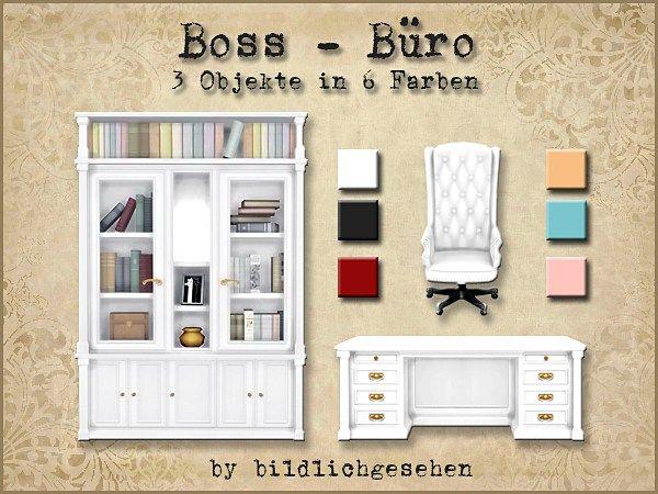 Moin Ihr Lieben! Für Euch habe ich heute das Boss-Büro, bestehend aus dem Bücherregal, dem Schreibtisch und dem Schreibtischstuhl in 6 Farben. Viel Spaß wünsche ich Euch! DOWNLOAD