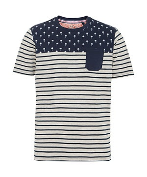 Navy (Blue) Navy and White Palm Stripe Pocket T-Shirt | 273243941 | New Look