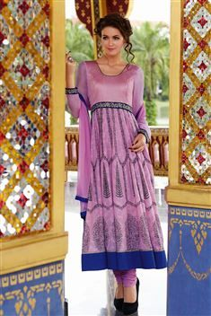 Cotton Purple, Blue Long Anarkali Salwar Suit