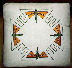 """Dragonfly Pillow. $220.  Finished size: 21""""x21"""" Flax Canvas with the design worked completely in hand embroidery. In a choice of three color combinations: Gold/Olive; Burgundy/Teal; or Blue/Green."""