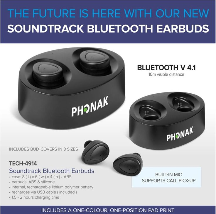Our new Soundtrack Bluetooth Earbuds and Power Case are the future of Bluetooth earbuds!  The carrying case doubles as a charging station and is capable of charging the earbuds from 0 to 100% two times. Once the case is charged it can be used as a portable charger for your earbuds.  With up to one hour of playback time, these earbuds are a must-have for travellers and music-loving audiences.  Additionally, the price of this product includes a one-colour, one-position pad print on the case…
