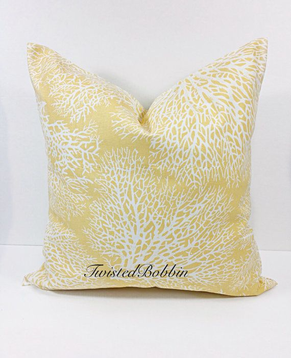 Yellow Pillow Cover.Coral Sunset.Yellow as low as $13.00  by TwistedBobbinDesigns