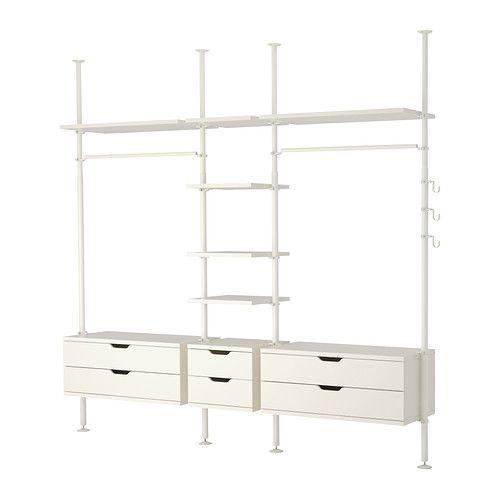 IKEA - STOLMEN, 3 secciones, , Altura regulable entre 210 y 330 cm. Permite sacar provecho a la altura de los techos.Puede colgarse del techo o en la pared.Las puertas correderas ahorran espacio.Si quieres organizar el interior, puedes completarlo con el juego de 6 cajas SKUBB.El cajón lleva autocierre.Se abre y cierra con toda suavidad. Provisto de tope.