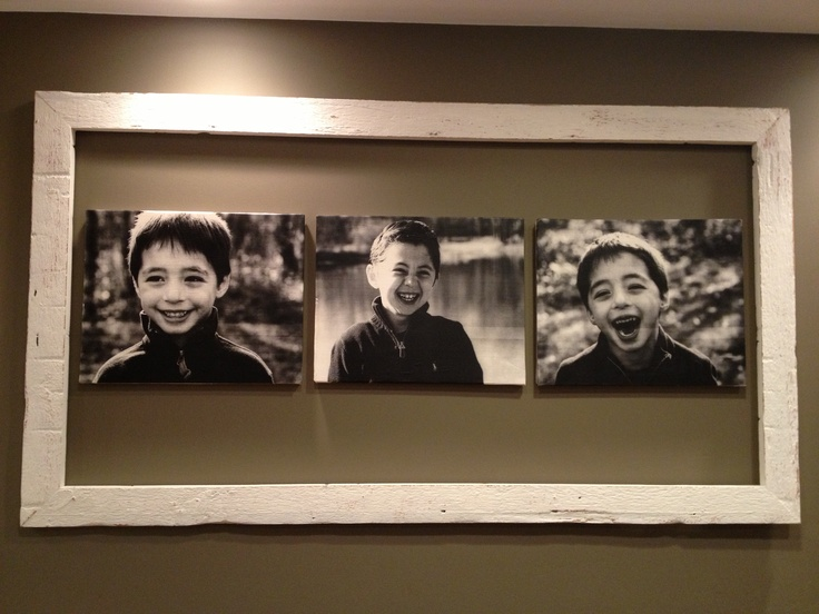 Engineer prints from Staples ($5 each) Mod Podged (antique matte) to canvas (16x20 from Michaels) and hung with 3M strips inside a reclaimed barn wood frame in kitchen.