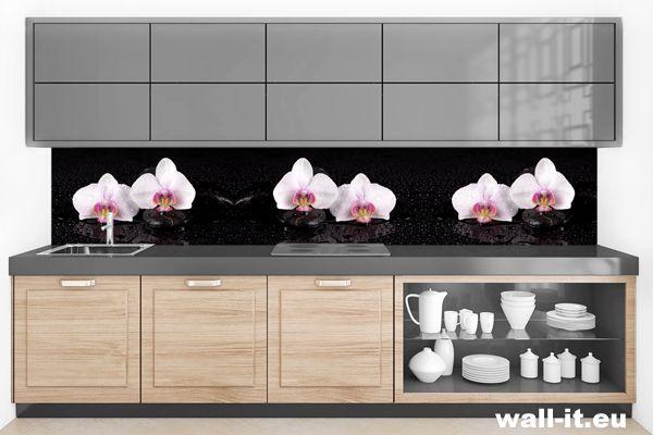 Fototapety do kuchni z białymi storczykami na czarnym tle. http://www.wall-it.eu/product/photowallpapers/panoramy/fototapeta-kwiaty.jpg #fototapety #fototapeta #storczyki #storczyk #orchidea #bialy #white #black #czarny #background #tlo #kuchnia #aranzacja #panel #wallit