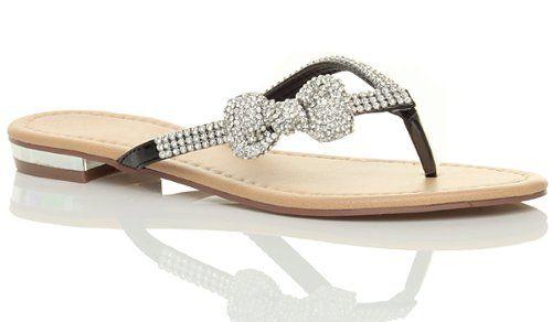 Femmes plat talon bas strass mariage de plage été tongs sandales taille 3 36
