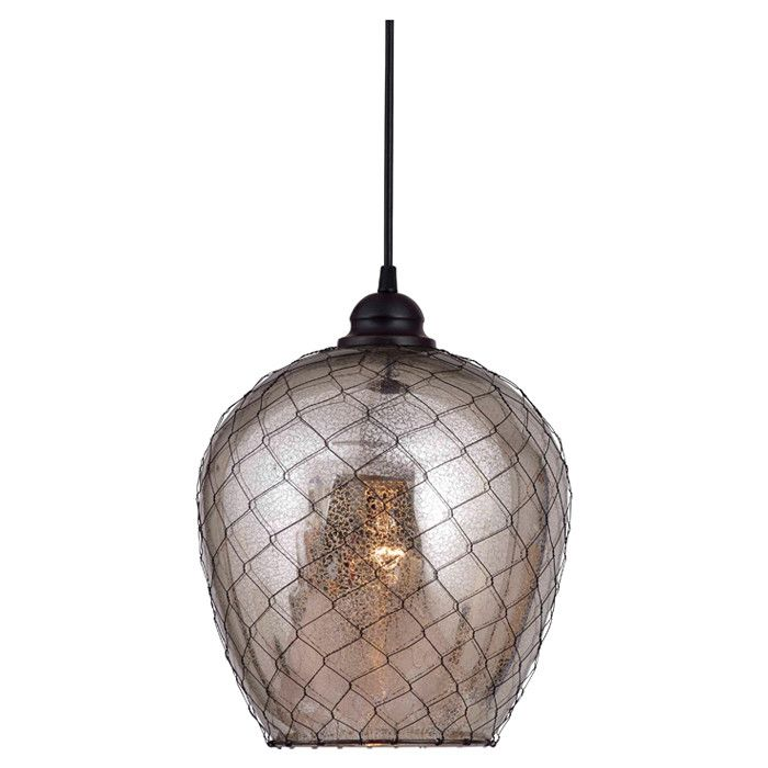 pendant light in oil rubbed bronze with mirrored glass and wiremesh accents