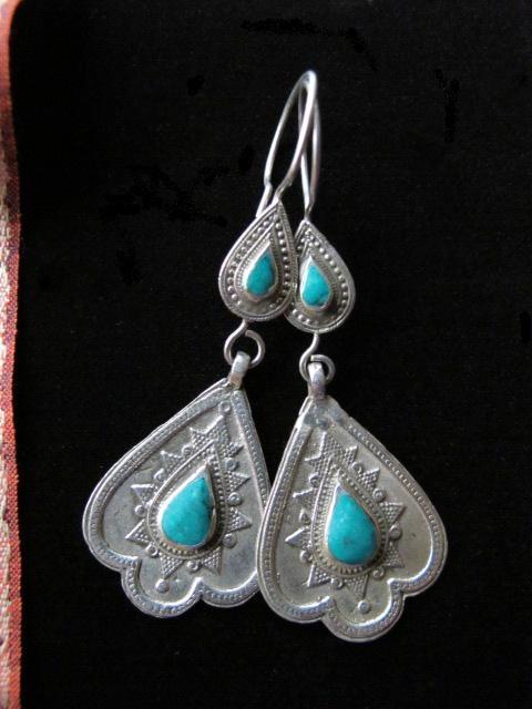 Tribal Jewelry Kazakh Heart Shaped Dangle Earrings