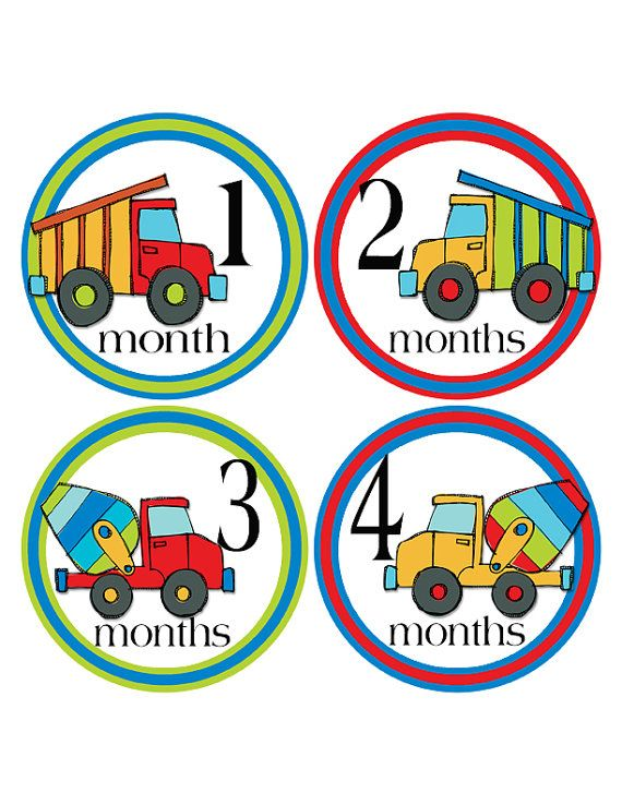 18 Month Stickers: Dump Truck Monthly Stickers Cement Truck Baby By
