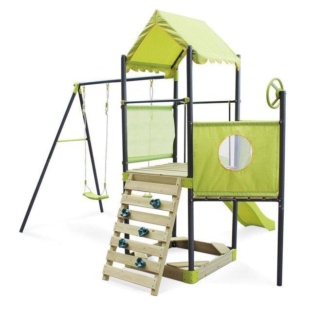 Aire de jeux Marin, toboggan, balançoires, bac à sable, cabanes et mur d'escalad ALICE S GARDEN | La Redoute Mobile 370€
