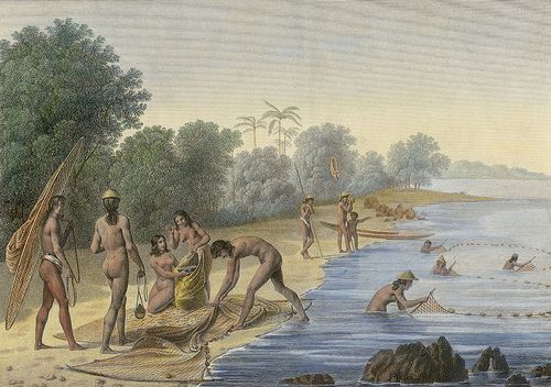 Ancient Chamorros fishing for the village illustrated by J ...