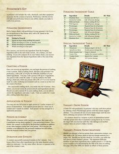 DnD 5e Homebrew — Poisener's Kit Mechanics by Shylocv