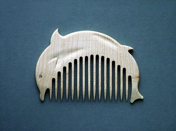 Wooden Comb Dolphin Hand Carved Natural.  Ready to Ship