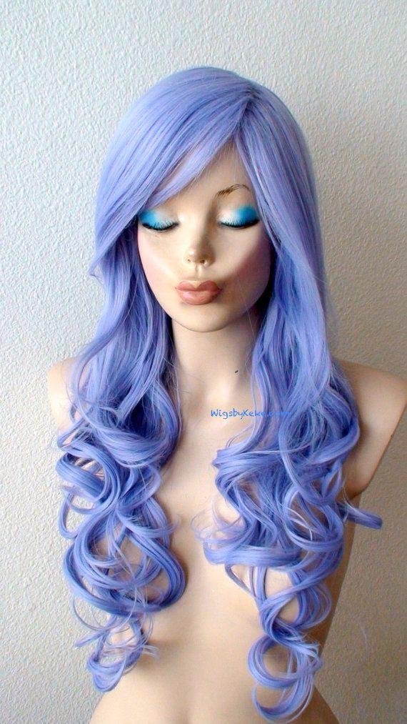 Lavender Blue wig. Pastel color wig. Long curly by kekeshop